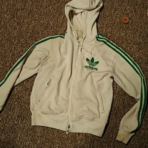White and Green Adidas Jacket